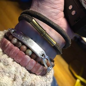 handmade Jewelry - Magnetic Leather and Bullet bracelet bronze brown